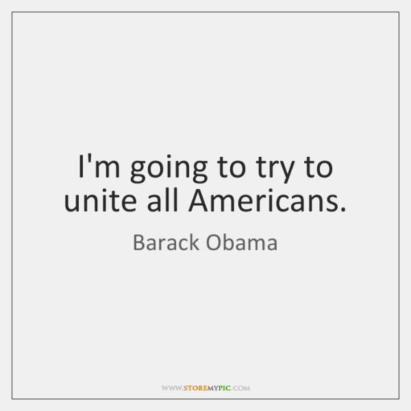 I'm going to try to unite all Americans.
