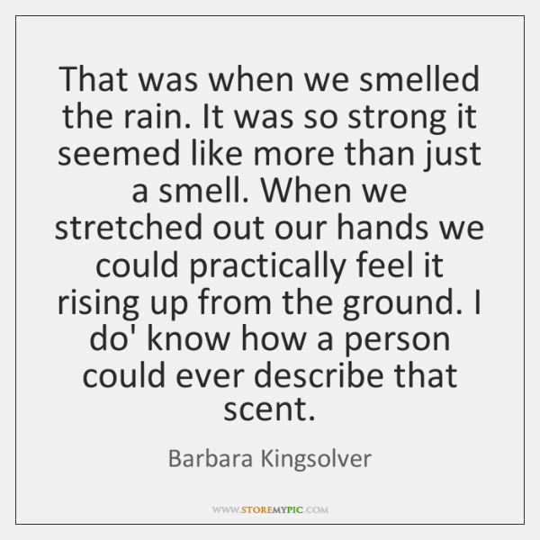 That was when we smelled the rain. It was so strong it ...