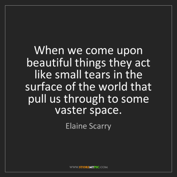 Elaine Scarry: When we come upon beautiful things they act like small...