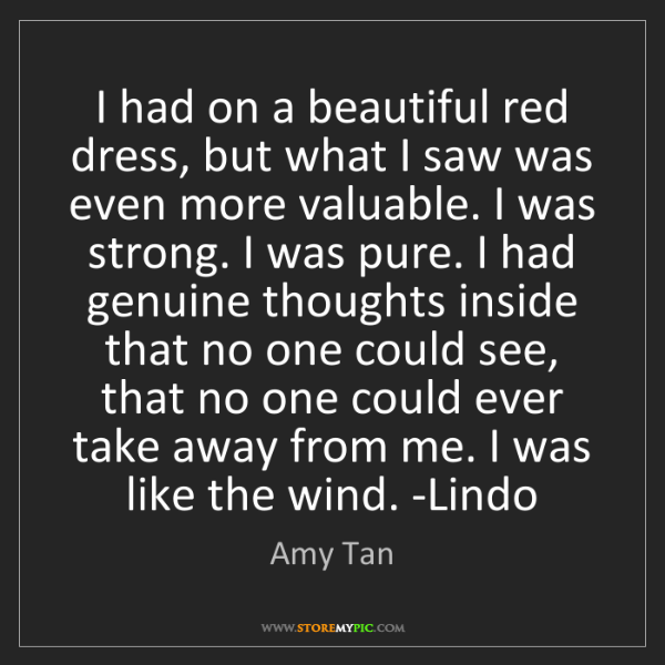 Amy Tan: I had on a beautiful red dress, but what I saw was even...