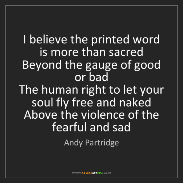 Andy Partridge: I believe the printed word is more than sacred   Beyond...