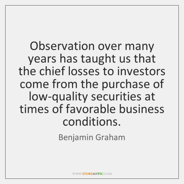 Observation over many years has taught us that the chief losses to ...