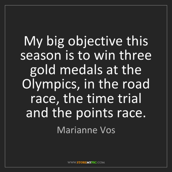 Marianne Vos: My big objective this season is to win three gold medals...