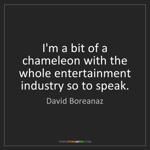 David Boreanaz: I'm a bit of a chameleon with the whole entertainment...