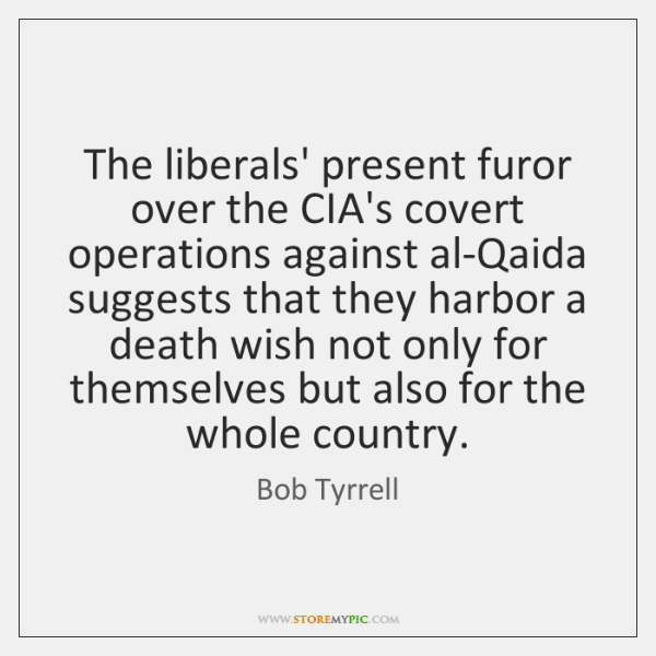 The liberals' present furor over the CIA's covert operations against al-Qaida suggests ...