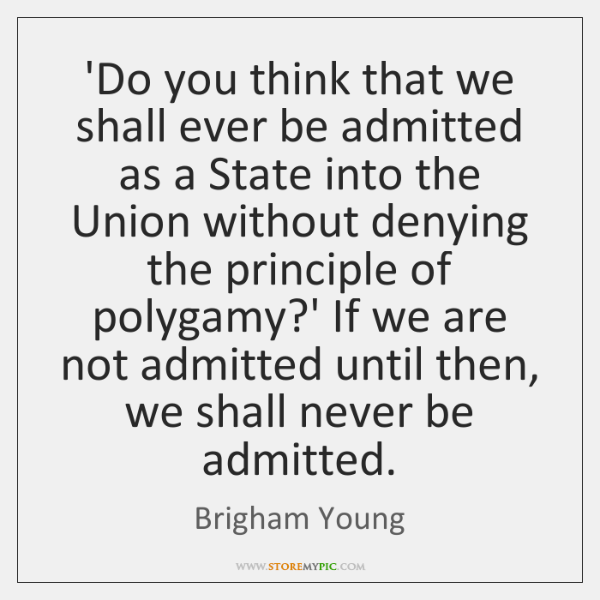 'Do you think that we shall ever be admitted as a State ...
