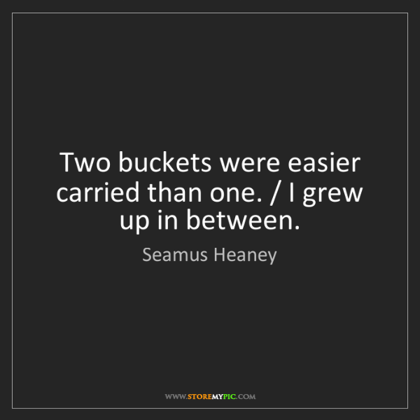Seamus Heaney: Two buckets were easier carried than one. / I grew up...