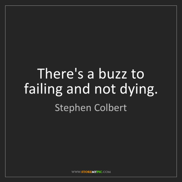 Stephen Colbert: There's a buzz to failing and not dying.
