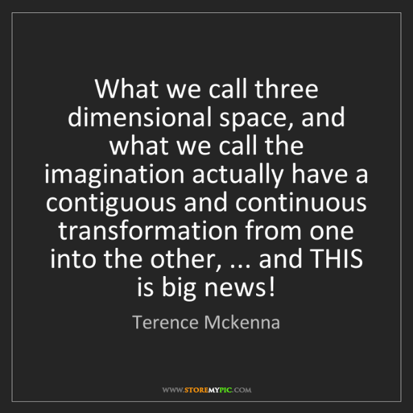 Terence Mckenna: What we call three dimensional space, and what we call...