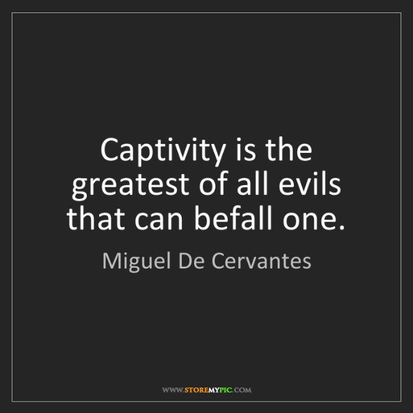Miguel De Cervantes: Captivity is the greatest of all evils that can befall...