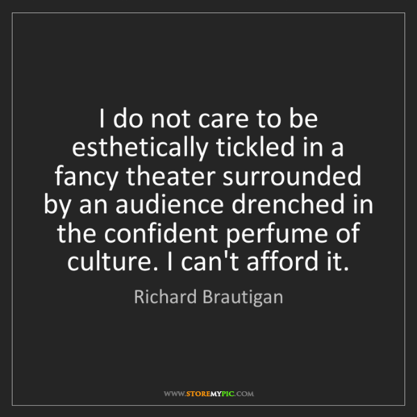 Richard Brautigan: I do not care to be esthetically tickled in a fancy theater...