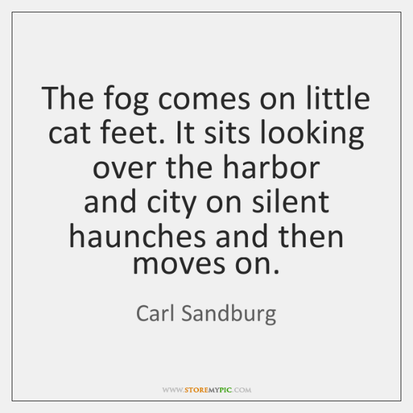 The fog comes on little cat feet. It sits looking over the ...