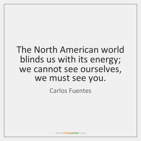 The North American world blinds us with its energy; we cannot see ...