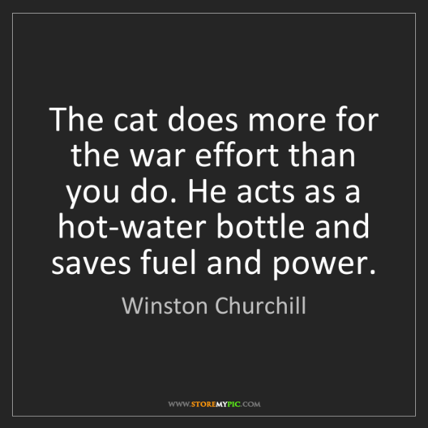 Winston Churchill: The cat does more for the war effort than you do. He...