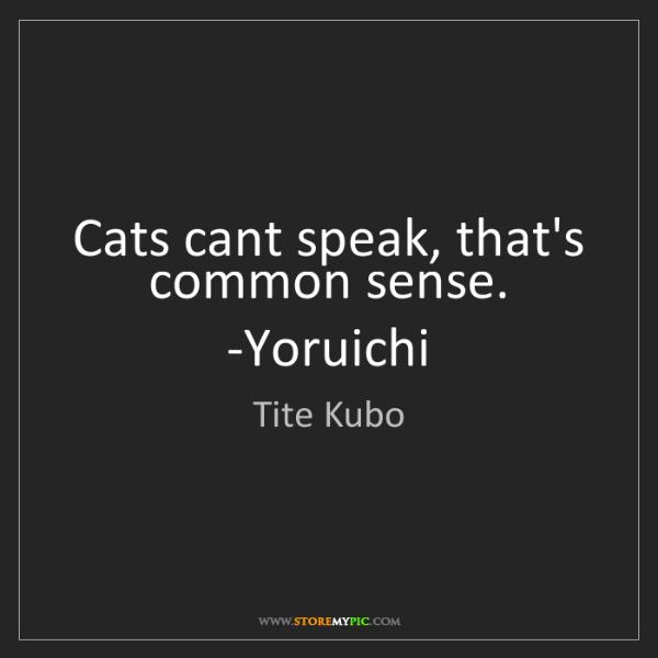 Tite Kubo: Cats cant speak, that's common sense. -Yoruichi