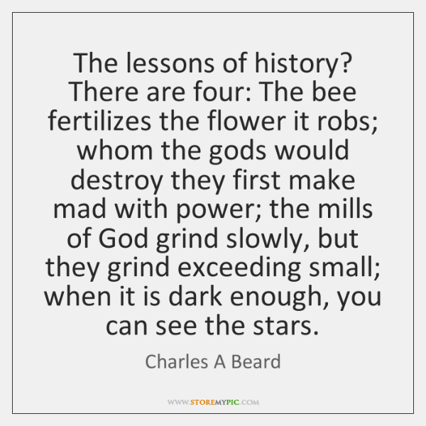 The lessons of history? There are four: The bee fertilizes the flower ...