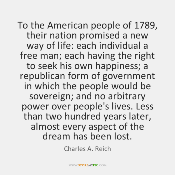 To the American people of 1789, their nation promised a new way of ...