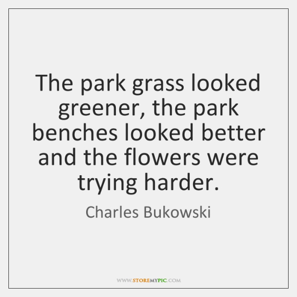 The park grass looked greener, the park benches looked better and the ...