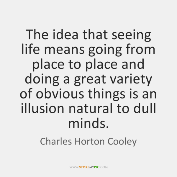 The idea that seeing life means going from place to place and ...