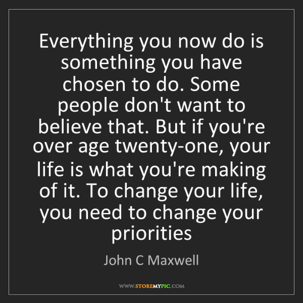 John C Maxwell: Everything you now do is something you have chosen to...