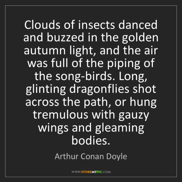 Arthur Conan Doyle: Clouds of insects danced and buzzed in the golden autumn...