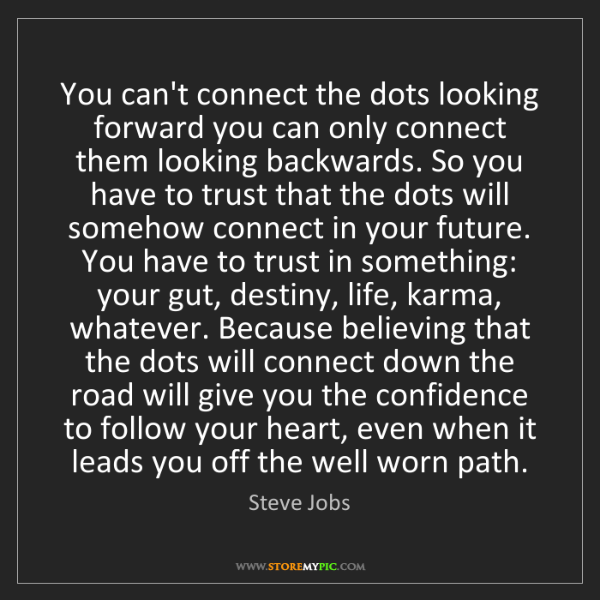 Steve Jobs: You can't connect the dots looking forward you can only...