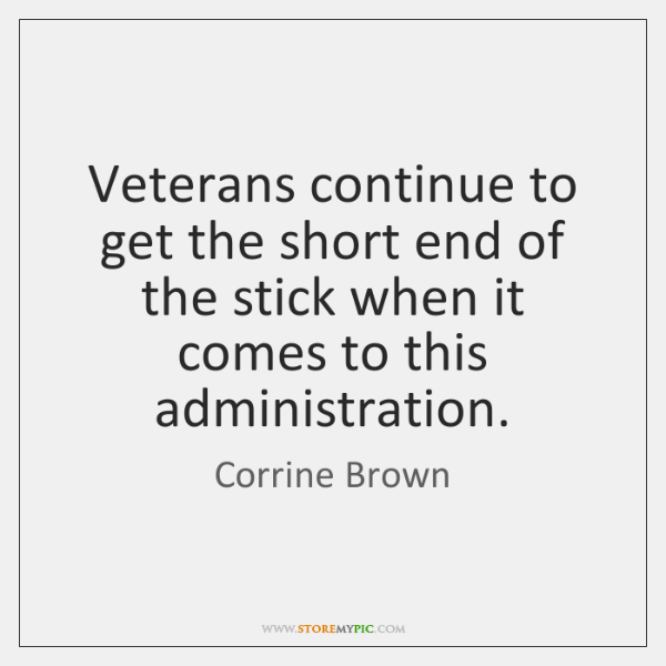 Veterans continue to get the short end of the stick when it ...