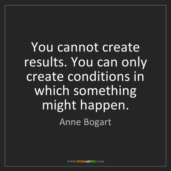 Anne Bogart: You cannot create results. You can only create conditions...