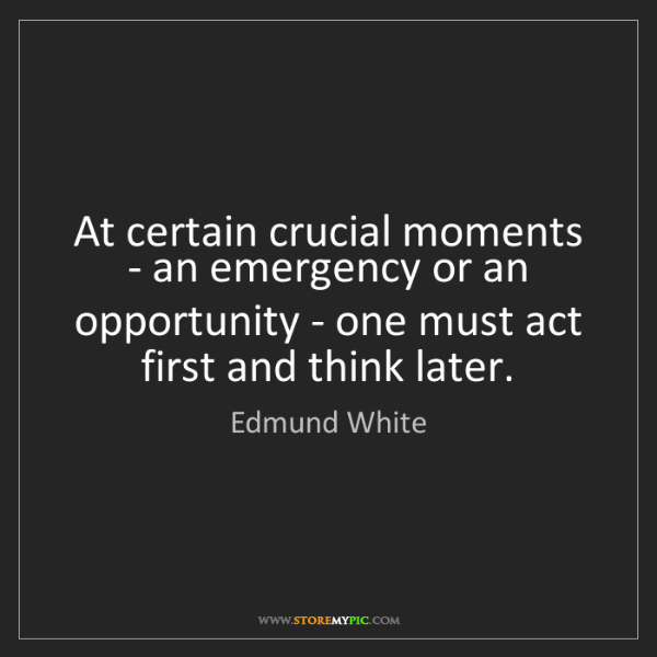 Edmund White: At certain crucial moments - an emergency or an opportunity...