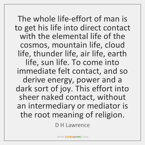 The whole life-effort of man is to get his life into direct ...