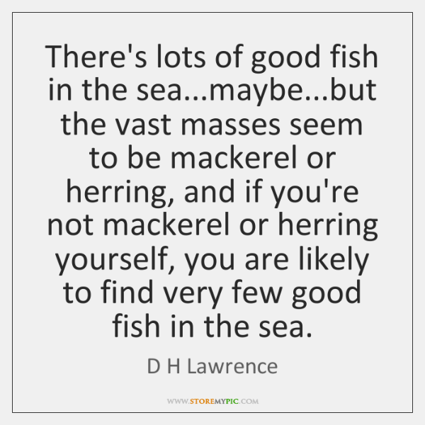 There's lots of good fish in the sea...maybe...but the vast ...