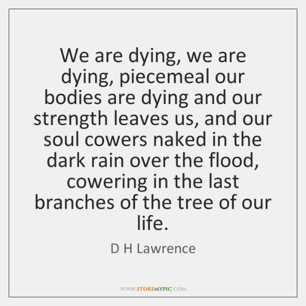 We are dying, we are dying, piecemeal our bodies are dying and ...