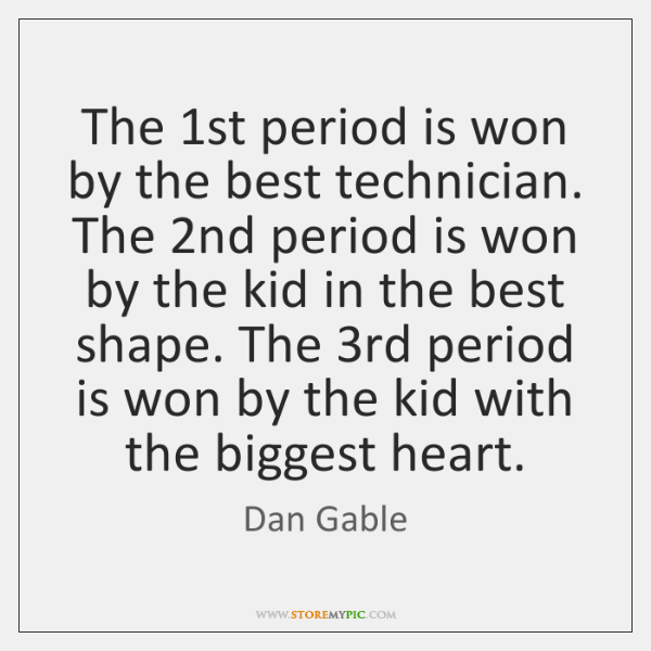 The 1st period is won by the best technician. The 2nd period ...