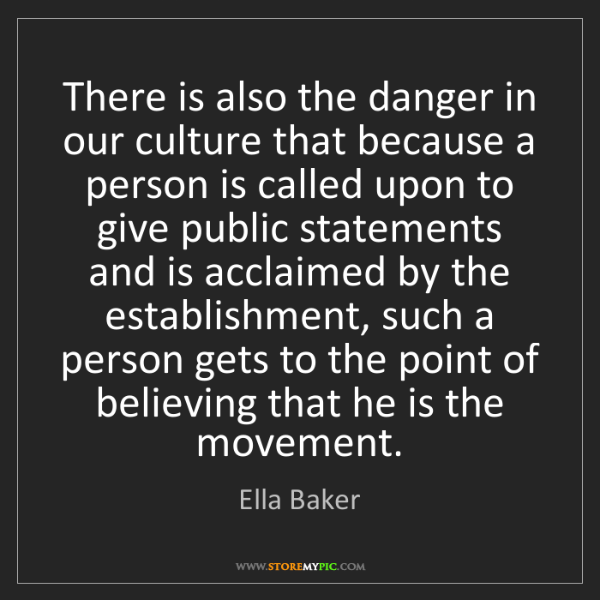 Ella Baker: There is also the danger in our culture that because...