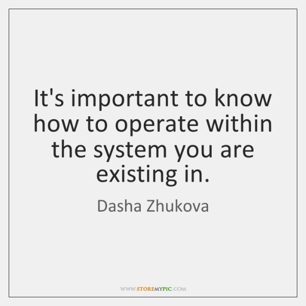 It's important to know how to operate within the system you are ...