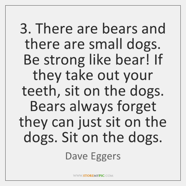 3. There are bears and there are small dogs. Be strong like bear! ...