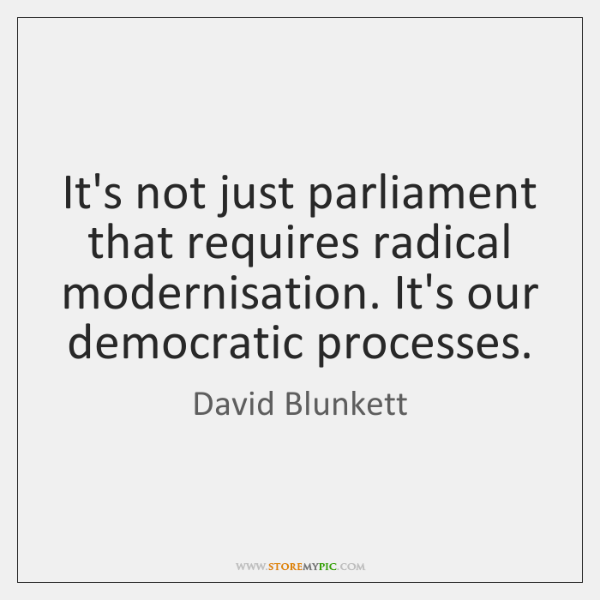 It's not just parliament that requires radical modernisation. It's our democratic processes.