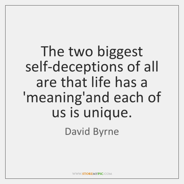 The two biggest self-deceptions of all are that life has a 'meaning'and ...