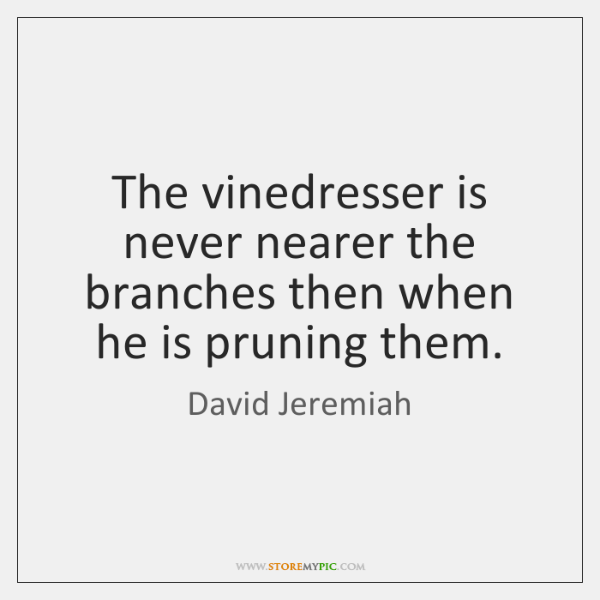 The vinedresser is never nearer the branches then when he is pruning ...
