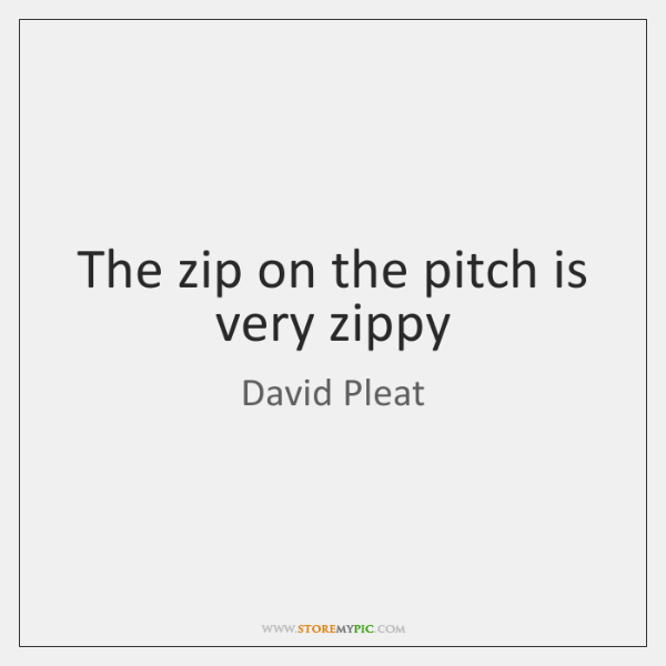 The zip on the pitch is very zippy