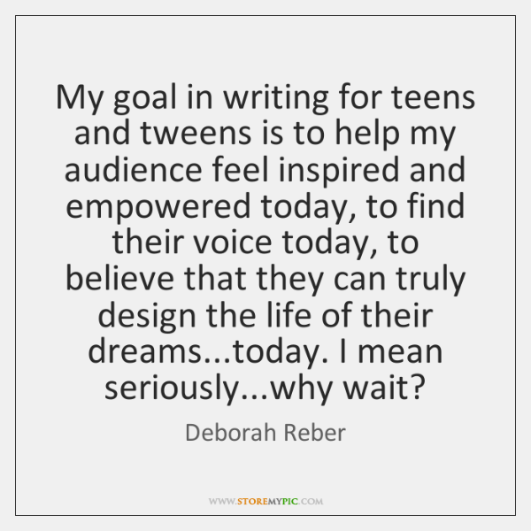 My goal in writing for teens and tweens is to help my ...