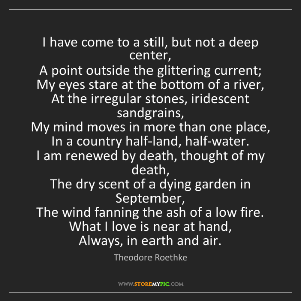 Theodore Roethke: I have come to a still, but not a deep center,   A point...