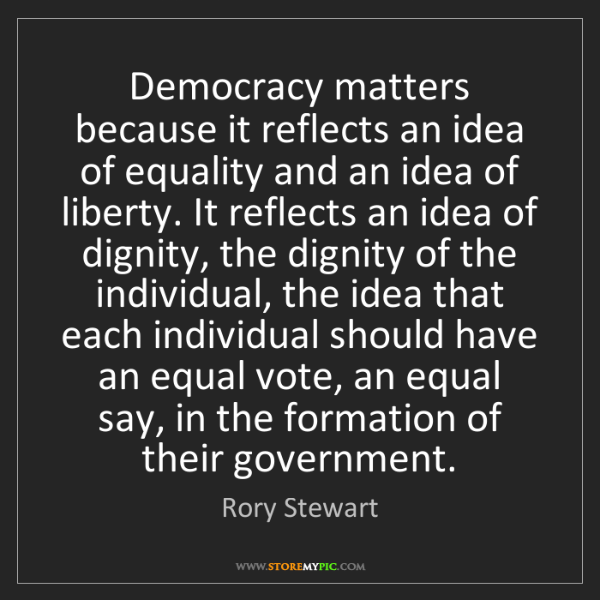 Rory Stewart: Democracy matters because it reflects an idea of equality...