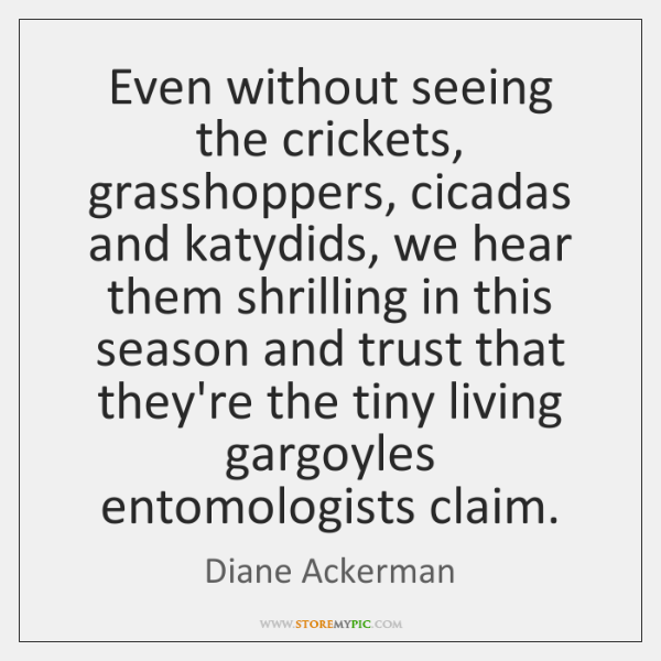 Even without seeing the crickets, grasshoppers, cicadas and katydids, we hear them ...