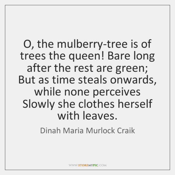 O, the mulberry-tree is of trees the queen! Bare long after the ...