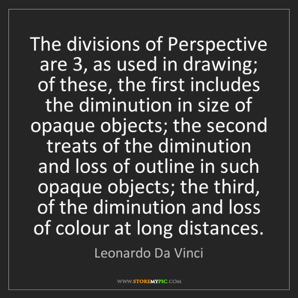 Leonardo Da Vinci: The divisions of Perspective are 3, as used in drawing;...