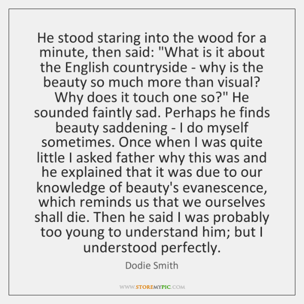 "He stood staring into the wood for a minute, then said: ""What ..."