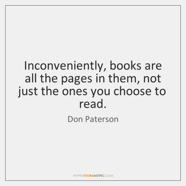 Inconveniently, books are all the pages in them, not just the ones ...