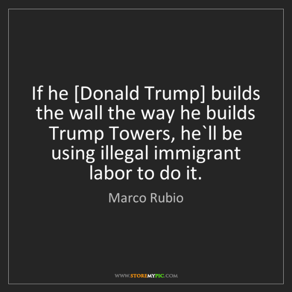 Marco Rubio: If he [Donald Trump] builds the wall the way he builds...
