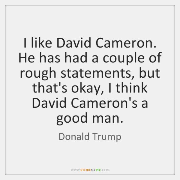 I like David Cameron. He has had a couple of rough statements, ...